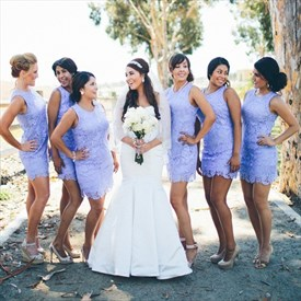 Simple Lavender Sleeveless Lace Overlay Sheath Bridesmaid Mini Dress