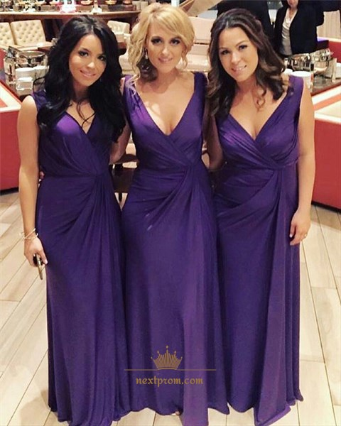 Purple V-Neck Ruched Bodice Sleeveless Long Chiffon Bridesmaid Dress