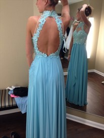 Light Blue Halter Lace Beaded Bodice Keyhole Back Chiffon Prom Dress