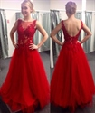 Red Illusion Lace Bodice Tulle Bottom Long Prom Dress With Open Back