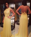 Yellow Sleeveless Lace Bodice Chiffon Long Prom Dress With Sheer Back