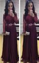 Burgundy Off Shoulder Sheer Long Sleeve Lace Bodice Chiffon Prom Dress