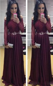 Burgundy Off Shoulder Sheer Long Sleeve Lace Bodice Chiffon Prom Dress