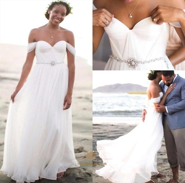 White Off Shoulder Ruched Chiffon Wedding Dress With Embellished Waist