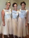 Champagne Sleeveless Lace Bodice Tulle Tea Length Bridesmaid Dresses