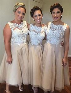Champagne Sleeveless Lace Bodice Tulle Tea Length Bridesmaid Dresses