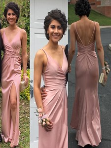 Pink Spaghetti Strap Mermaid Prom Dress With Side Slit And Open Back