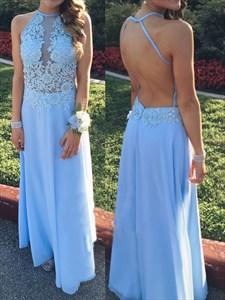 Light Blue Halter Illusion Applqiue Bodice Backless Chiffon Long Dress