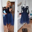Illusion Applqiue Bodice Tulle Short Cocktail Dress With Long Sleeve