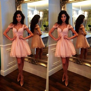 Pink Off Shoulder Sweetheart Ruched Chiffon Knee Length Cocktail Dress