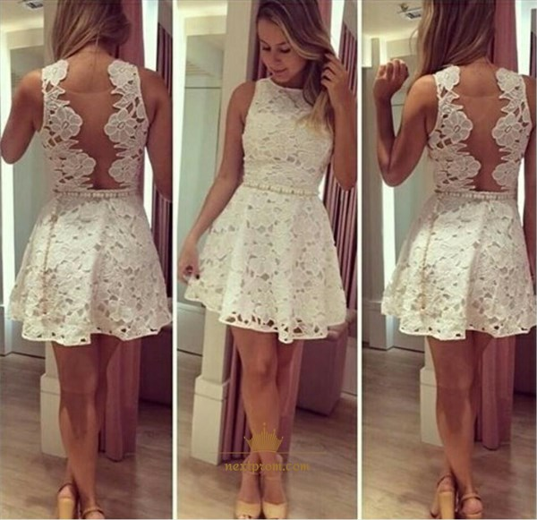 Cute White Lace Applique Knee Length Cocktail Dress With Illusion Back