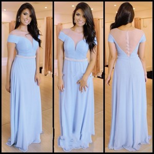 Light Blue Short Sleeve Chiffon Floor Length Dress With Sheer Bodice
