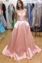 Pink Elegant Strapless Sweetheart Floor Length Formal Evening Dress