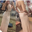 Sparkly Spaghetti Strap Beaded Waist Backless Sequin Long Prom Dress