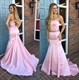 Elegant Pink Strapless Beaded Waist Mermaid Long Prom Dress With Bow