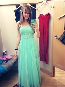 Mint Green Strapless Empire Beaded Waist Long Chiffon Bridesmaid Dress
