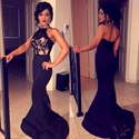 Black Halter High Neck Mermaid Long Prom Dress With Lace Embellished