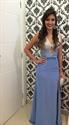 Blue Sleeveless V-Neck Beaded Bodice Side Slit Prom Dress With Keyhole