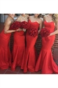 Red Strapless Sweetheart Mermaid Long Bridesmaid Dress With Open Back