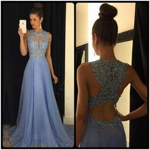 Light Blue Illusion Lace Beaded Bodice Chiffon Prom Dress With Keyhole