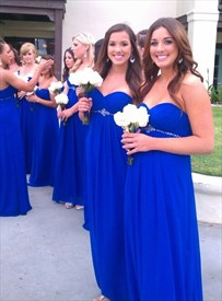 Royal Blue Strapless Ruched Chiffon Bridesmaid Dress With Empire Waist