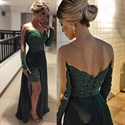 Hunter Green Illusion Long Sleeve Lace Prom Dress With Chiffon Overlay