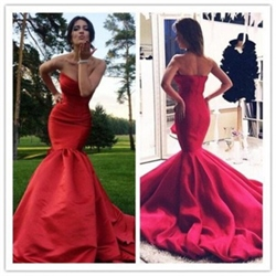 Elegant Red Strapless Dropped Waist Mermaid Evening Dress With Train