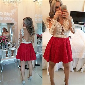 Short Red Lace Cocktail Dress With Sheer White Long Sleeve Lace Bodice