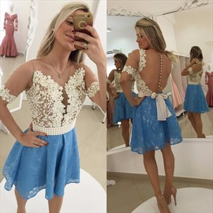 Blue Knee Length Lace Cocktail Dress With Beaded Bodice And Sheer Back