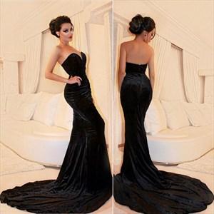 Black Strapless Sweetheart Mermaid Floor Length Prom Dress With Train