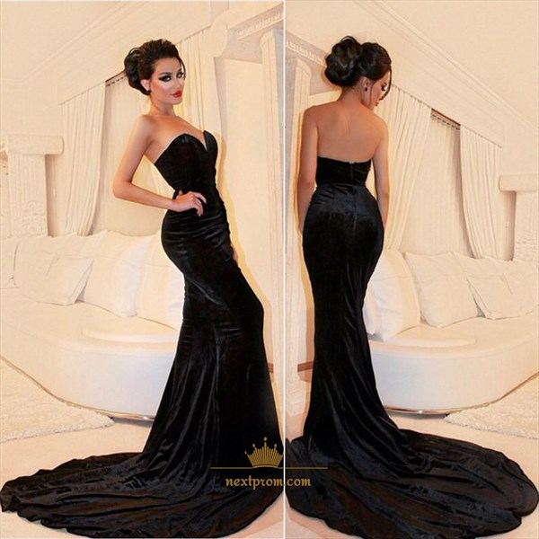 Black Strapless Sweetheart Mermaid Floor Length Prom Dress With Train