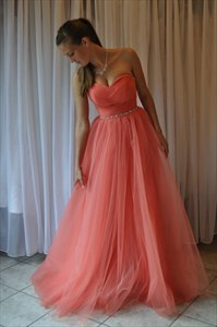 Coral Strapless Tulle Floor Length Prom Dress With Embellished Waist