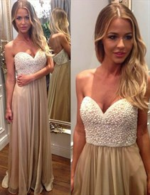 Champagne Strapless Sweetheart A-Line Chiffon Dress With Beaded Bodice