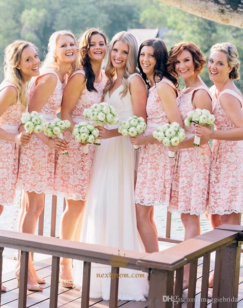 Knee Length Pink Sleeveless Bridesmaid Dress With White Lace Overlay
