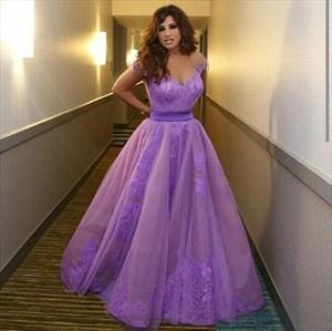 Lavender Off The Shoulder Lace Applique Embellished Ball Gown Dress