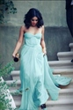 Light Blue Elegant Strapless A Line Floor Length Ruched Chiffon Dress