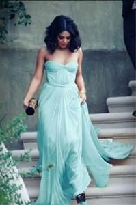 Light Blue Elegant Strapless A Line Floor Length Ruched Chiffon Dress
