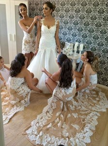 Champagne Strapless High Low Bridesmaid Dress With Lace Embellished
