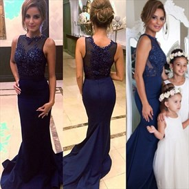 Navy Blue Sleeveless Mermaid Evening Dress With Sheer Beaded Bodice