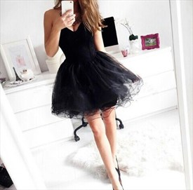 Elegant Strapless Little Black Tulle Dress With Sweetheart Neckline