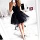 Elegant Strapless Little Black Tulle Dress With Sweetheart Neckline