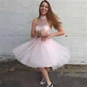 Cute Light Pink Beaded Halter Two Piece Knee Length Homecoming Dress