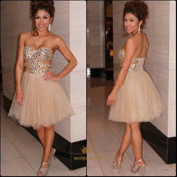 Champagne Strapless Beaded Cut Out Waist Knee Length Cocktail Dress
