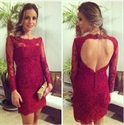 Burgundy Keyhole Back Lace Sheath Homecoming Dress With Long Sleeve