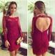 Burgundy Keyhole Back Lace Sheath Homecoming Dress With Long Sleeve