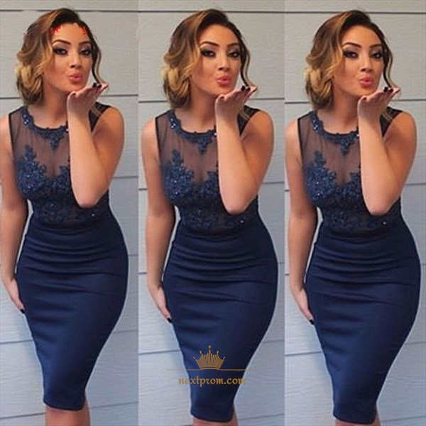 Navy Blue Sleeveless Short Sheath Prom Dress With Illusion Lace Top