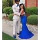 Royal Blue Halter Beaded Embellished Dropped Waist Mermaid Prom Dress