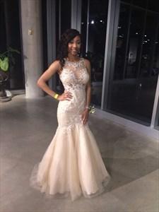 Ivory Sleeveless Illusion Lace Embellished Tulle Mermaid Wedding Dress