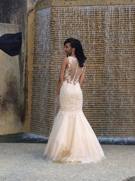 Ivory Sleeveless Illusion Lace Embellished Tulle Mermaid Wedding Dress