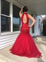 Red Beaded Halter Sheath Mermaid Tulle Evening Gown With Keyhole Back